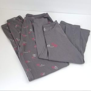 HUE Love Thermal Pajama Set Gray Pink White Sz M